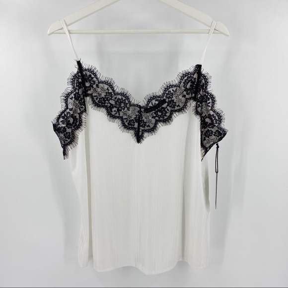 Black Tape white and lace camisole tank NWT